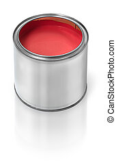 Red paint tin can