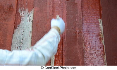 red paint wood