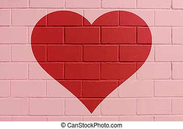 Red painted brick wall with heart