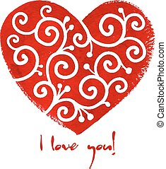 Red painted heart with white ornament