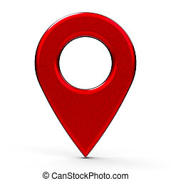 Red painted map pointer isolated on white background,...