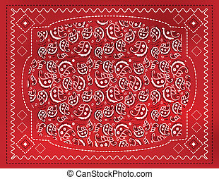 Red Paisley Handkerchief - A red paisley patterned...