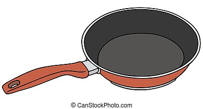 Hand drawing of a red nonadhesive pan