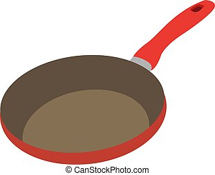 Red pan, illustration, vector on white background.