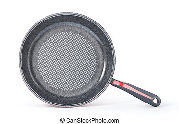 Red pan on a white background. 3d illustration