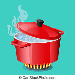 Red pan, saucepan, pot, casserole, cooker, stewpan with boiling water and closed pan lid vector isolated Cooking icon