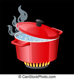 Red pan, saucepan, pot, casserole, cooker, stewpan with boiling water and closed pan lid vector isolated on white. Cooking icon