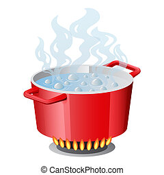 Red pan, saucepan, pot, casserole, cooker, stewpan with boiling water and opened pan lid vector isolated on white