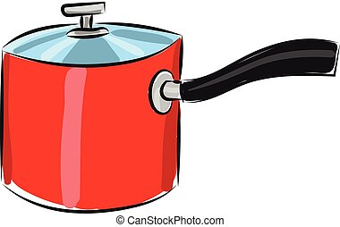 Red pan, vector or color illustration.