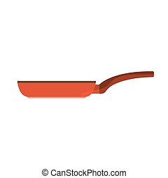 Red pan with brown handle. Vector image