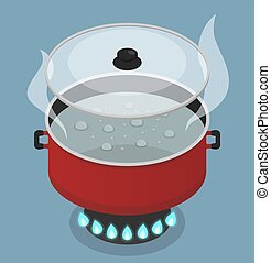 Red pan with lid and boiling water on gas burner. Vector isometric illustration