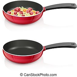 Red pan with lid. Kitchen tableware. Cooking food.