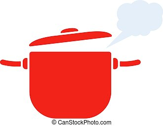 red pan with steam icon
