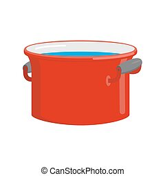 Red pan with water isolated. Kitchen utensils for cooking