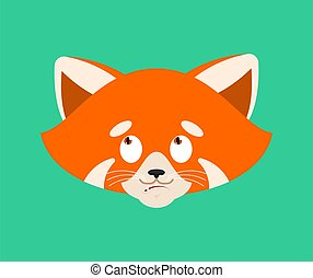 Red panda confused emoji face avatar. Wild animal is ...