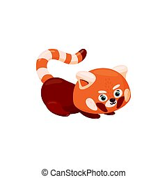 Red panda lying on the ground. Curious baby red panda isolated in white background. Vector illustration