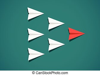 Red paper airplane as a leader among white airplanes. Leadership, teamwork, motivation concept.