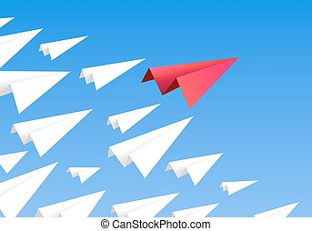Red paper airplane as a leader.