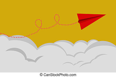 Red paper airplane flies on a yellow background