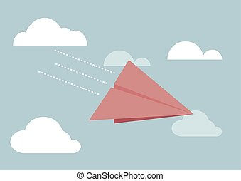 Red paper airplane flying in sky