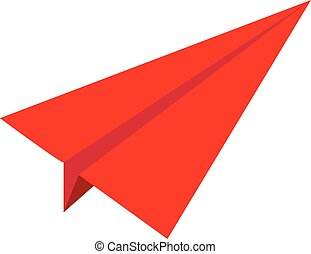 red paper airplane icon on white background. flat style. red paper aircraft icon for your web site design, logo, app, UI. paper plant symbol. red paper airplane sign.