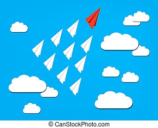 Red Paper Airplane out from the White Ones. Leadership, Winner Concept. Flat Illustration