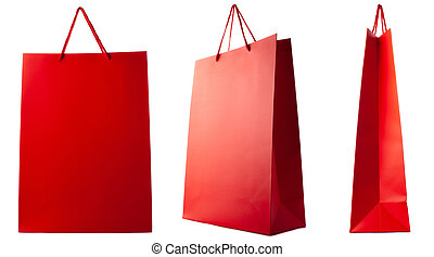 Red paper bag isolated on white background. Side, front, three-quarter view.