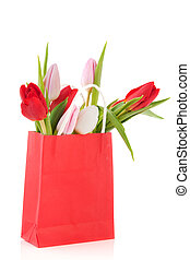 Red paper bag tulips