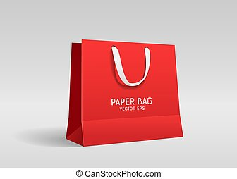 Red paper bag, with white cloth handle design, template on gray background