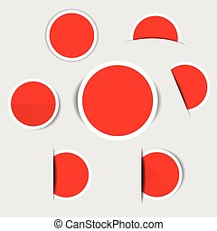 Red paper circle stickers with shadows