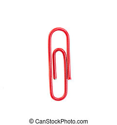 Red paper clip isolated on white background
