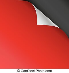 Red paper corners on a black background. Vector illustration