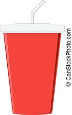 Red paper cup template for soda or cold beverage with...