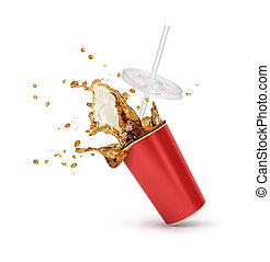 Red Paper cup with cola splash isolated