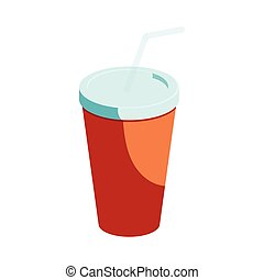 Red paper cup with straw icon, cartoon style