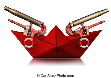 Red paper fire boat with water cannons and ring buoys - White background