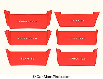 red paper fold origami style banner