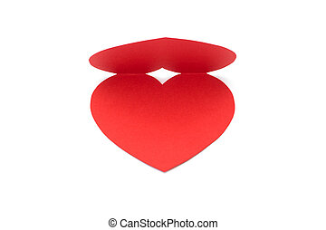 Red paper heart card Valentines day