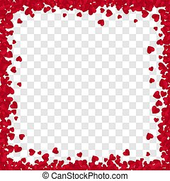 Red Paper Heart Frame Background. Heart Frame with space for Text. Valentine's Day romantic background. Vector illustration isolated on transparent background