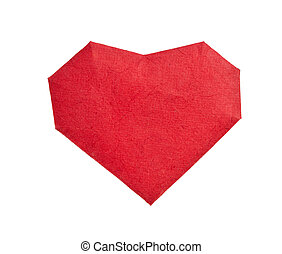 Red paper heart isolated on white