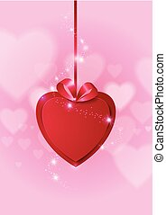 Red Paper Heart on Love Abstract Background