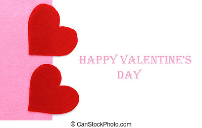 Red Paper heart shapes on pink and white background