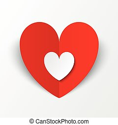 Red paper heart Valentines day card on white