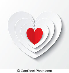 Red paper heart Valentines day card on white.
