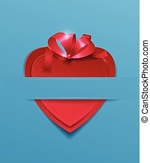 Red Paper Heart with Ribbon on Light Blue Background