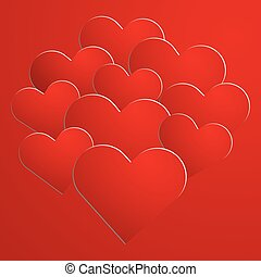Red paper hearts on background