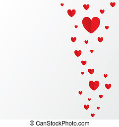 Red paper hearts Valentines day card on white