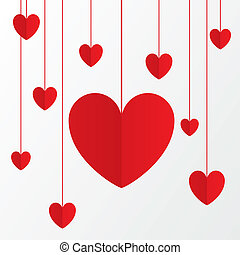 Red paper hearts Valentines day card on white.
