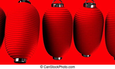 Red paper lantern on red background. Loop able 3DCG render...