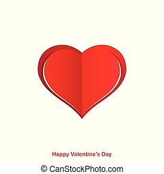 Red paper origami heart. Happy Valentines Day card, background